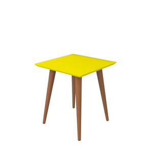 Utopia 20-Inch High Square End Table With Splayed Wooden Legs in Yellow