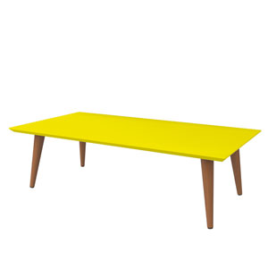 Utopia 11.81-Inch High Rectangle Coffee Table with Splayed Legs in Yellow