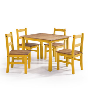 York 5-Piece Solid Wood Dining Set with 1 Table and 4 Chairs in Yellow Wash