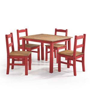 York 5-Piece Solid Wood Dining Set with 1 Table and 4 Chairs in Red Wash
