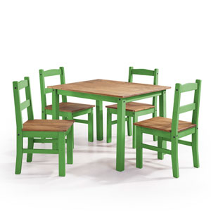 York 5-Piece Solid Wood Dining Set with 1 Table and 4 Chairs in Green Wash