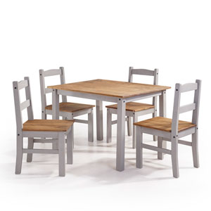 York 5-Piece Solid Wood Dining Set with 1 Table and 4 Chairs in Gray Wash