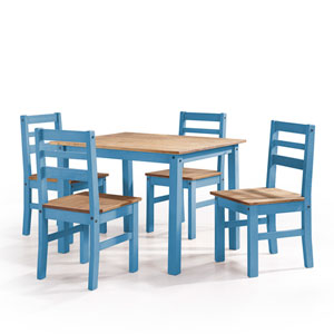 Maiden 5-Piece Solid Wood Dining Set with 1 Table and 4 Chairs in Blue Wash