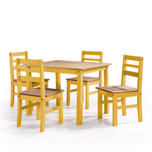 Maiden 5-Piece Solid Wood Dining Set with 1 Table and 4 Chairs in Yellow Wash