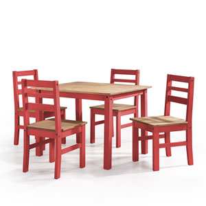 Maiden 5-Piece Solid Wood Dining Set with 1 Table and 4 Chairs in Red Wash