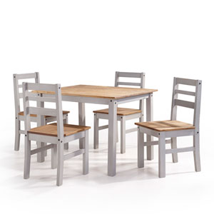 Maiden 5-Piece Solid Wood Dining Set with 1 Table and 4 Chairs in Gray Wash