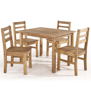 Maiden 5-Piece Solid Wood Dining Set with 1 Table and 4 Chairs in Nature