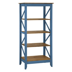 Jay 31.5-Inch Solid Wood Bookcase with 4 Shelves in Blue Wash