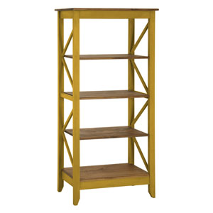 Jay 31.5-Inch Solid Wood Bookcase with 4 Shelves in Yellow Wash