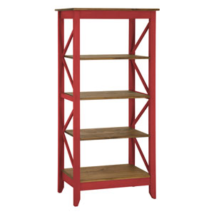 Jay 31.5-Inch Solid Wood Bookcase with 4 Shelves in Red Wash