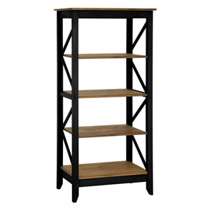 Jay 31.5-Inch Solid Wood Bookcase with 4 Shelves in Black Wash