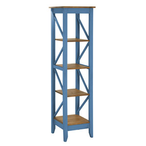 Jay 18.5-Inch Solid Wood Bookcase with 4 Shelves in Blue Wash