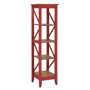 Jay 18.5-Inch Solid Wood Bookcase with 4 Shelves in Red Wash