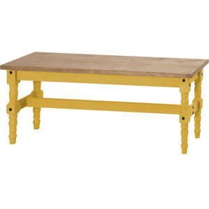 Jay 47-Inch Solid Wood Dining Bench in Yellow Wash