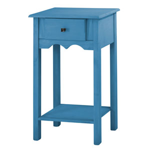 Jay 35-Inch Tall End Table with 1 Full Extension Drawer in Blue Wash