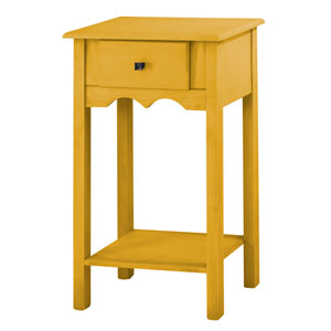 Jay 35-Inch Tall End Table with 1 Full Extension Drawer in Yellow Wash
