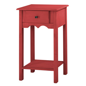 Jay 35-Inch Tall End Table with 1 Full Extension Drawer in Red Wash