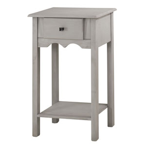 Jay 35-Inch Tall End Table with 1 Full Extension Drawer in Gray Wash
