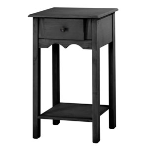 Jay 35-Inch Tall End Table with 1 Full Extension Drawer in Black Wash