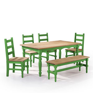 Jay 6-Piece Solid Wood Dining Set with 1 Bench, 4 Chairs, and 1 Table in Green Wash