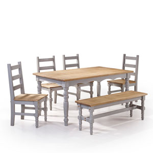 Jay 6-Piece Solid Wood Dining Set with 1 Bench, 4 Chairs, and 1 Table in Gray Wash