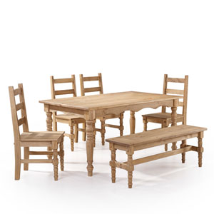 Jay 6-Piece Solid Wood Dining Set with 1 Bench, 4 Chairs, and 1 Table in Nature