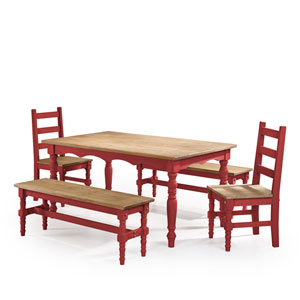 Jay 5-Piece Solid Wood Dining Set with 2 Benches, 2 Chairs, and 1 Table in Red Wash