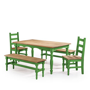 Jay 5-Piece Solid Wood Dining Set with 2 Benches, 2 Chairs, and 1 Table in Green Wash