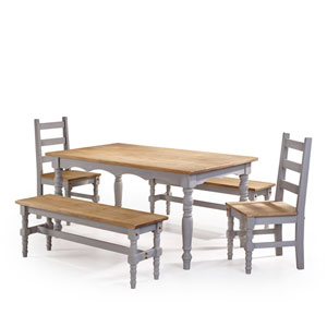 Jay 5-Piece Solid Wood Dining Set with 2 Benches, 2 Chairs, and 1 Table in Gray Wash