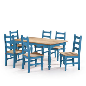 Jay 7-Piece Solid Wood Dining Set with 6 Chairs and 1 Table in Blue Wash