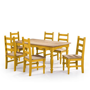 Jay 7-Piece Solid Wood Dining Set with 6 Chairs and 1 Table in Yellow Wash