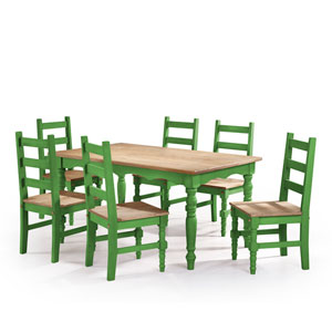 Jay 7-Piece Solid Wood Dining Set with 6 Chairs and 1 Table in Green Wash