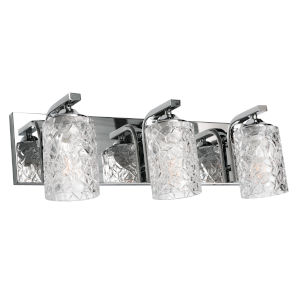 Annabel Polished Chrome Three-Light Vanity with Clear Glass