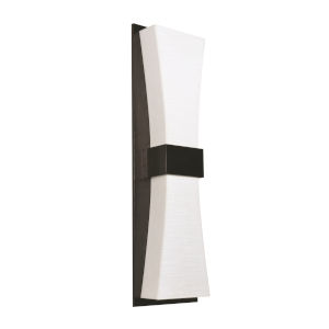Aberdeen Espresso LED Wall Sconce with Linen White Shade