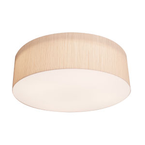 Anton Satin Nickel 15-Inch LED Flush Mount with Mocha Linen Shade