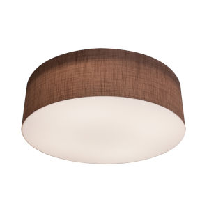 Anton Satin Nickel 19-Inch LED Flush Mount with Mocha Linen Shade