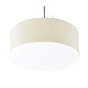 Anton Satin Nickel 15-Inch LED Pendant with Linen White Shade