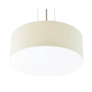 Anton Satin Nickel 19-Inch LED Pendant with Linen White Shade