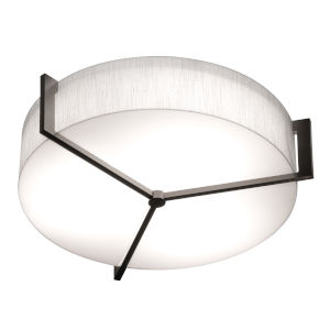 Apex Espresso 17-Inch LED Flush Mount with Linen White Shade