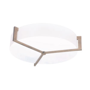 Apex Weathered Gray 17-Inch LED Flush Mount with Linen White Shade