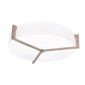 Apex Weathered Gray 21-Inch LED Flush Mount with Linen White Shade