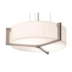 Apex Weathered Gray 21-Inch LED Pendant with Linen White Shade