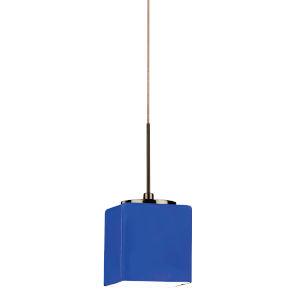 Geo Satin Nickel 3000K 120V LED Mini Pendant with Blue Shade
