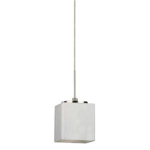 Geo Satin Nickel 3000K 120V LED Mini Pendant with White Shade