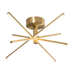 Jaxx Satin Brass Four-Light LED Semi Flush Mount