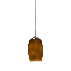 Kenwood Satin Nickel 3000K 120V LED Mini Pendant with Amber Shade