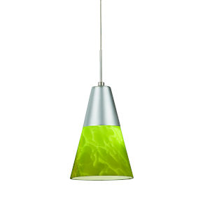 Laveer Satin Nickel 4000K 120V LED Mini Pendant with Green Shade