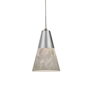 Laveer Satin Nickel 4000K 120V LED Mini Pendant with White Shade