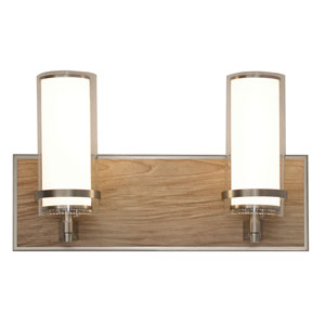 Arden Satin Nickel and Walnut Finish Two-Light LED Bath Vanity