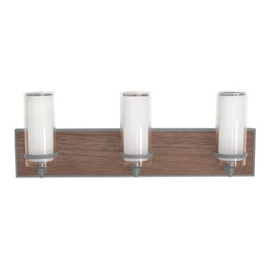 Arden Satin Nickel and Walnut Finish Three-Light LED Bath Vanity